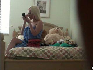 Blonde girl caught naked on hidden cam