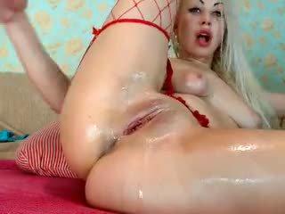 Blonde Girl Fist her Ass on Cam