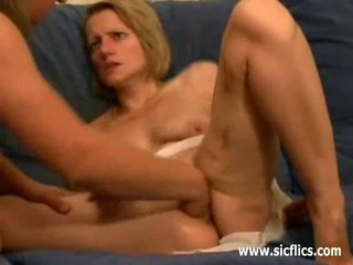 Young blond slut fist fucked in her loose vagina