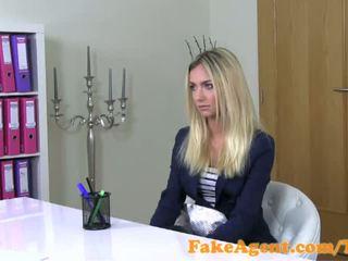 FakeAgent Stunning blonde fashion student fucks in Casting