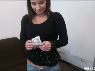 Barmaid with big tits fucked for cash