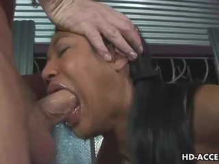 Caged asian slut gives hot blowjob