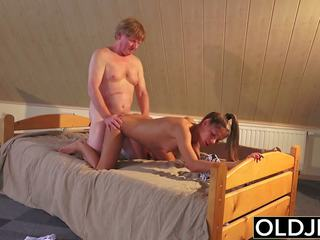 Old and Young Porn Teen Fucked by Old Man in Pussy and
