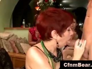 Amateur babes suck CFNM stripper at party