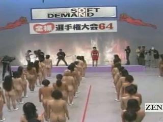 Subtitled grande nudismo grupo de japonesa mulheres stretching