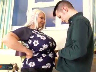 gemuk, bbw, tua