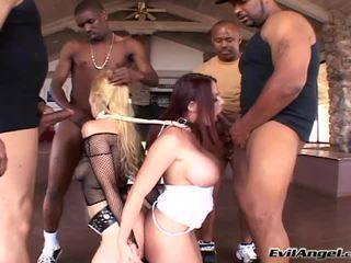 Lady Master Gives Orders To Her Blonde Serf To Suck Four Lads