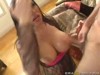 Amazing brunette babe with big boobs getting her pussy fucked hard