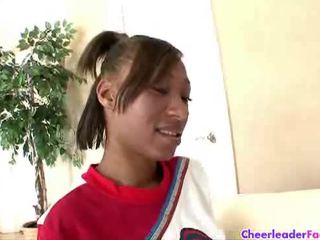 Cheerleader nevaeh getting her pussy polished