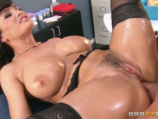 Lisa Ann showing big oiled boobies and gets pounded by her naughty doctor