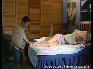 Sleeping Karina gets a cumshot in her feet Video
