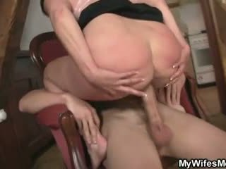 Horny old mom fucks daughter's boyfriend