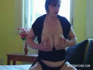 brunette, all big boobs scene, fresh granny