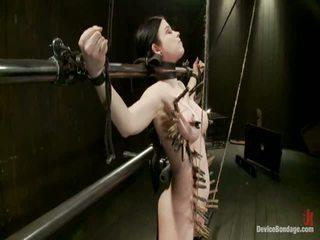 Curvy broad suffers für orgasms dann strung nach oben von haar suspension.