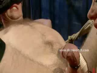 ebony sex slave with big muscles tied with ropes with hands and legs spread large and fucked