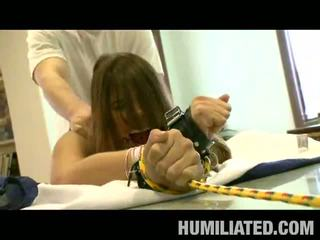 Disgraced 18: Horny chick tied up and brutally fucked by big dick piledriven