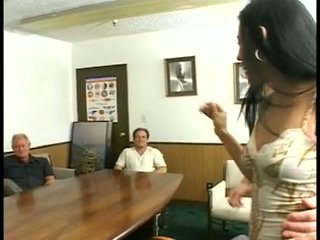 Cute young latina chick gets fucked in the board room by a group of coworkers