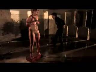 Busty tóc đỏ với breast bondage getting cô ấy âm hộ fingered flashed với nước spanked trong các dungeon