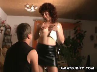 Naughty amateur Milf sucks and fucks with cumshot