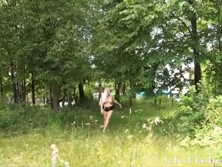 Chubby goth girlfriend flasher in outdoor strip