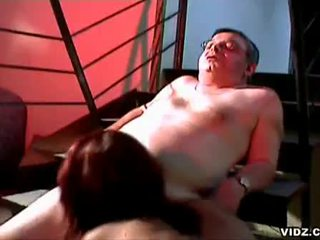 Young redhead sucks fat old dudes cock