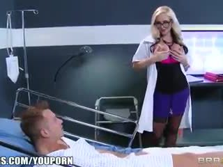 Dirty blonde Doctor Alena Croft helps her patient feel better