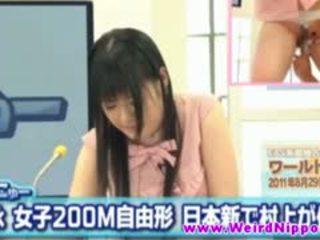 Asian News Host Fingered While Hosting