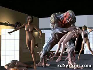 Aliens bang থ্রিডি মেয়েরা!