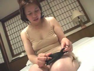 brünett, jaapani, masturbating, vanaemake
