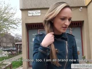 Blonde Hungarian amateur bangs outdoors