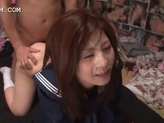 Messy asian bukkake with schoolgirl fucked in group