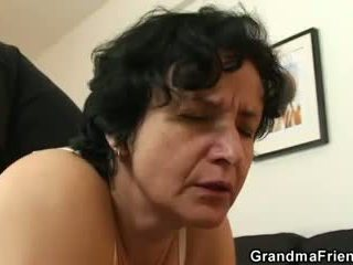She gets her old hairy hole filled with two cocks