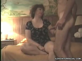 Mature slut suck black and white dicks