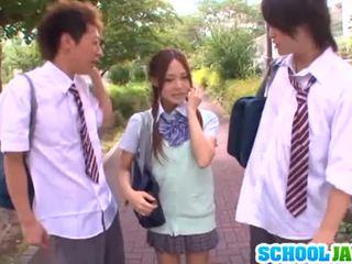 J Schoolgirls: Yukina sucks dicks and gets nailed in a threesome