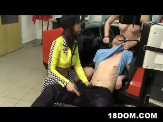 Brutal and uncensored video of two sexy driving instructors fucking some guy