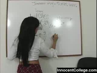 Sexy Lezbo school girls teach each other a lesson