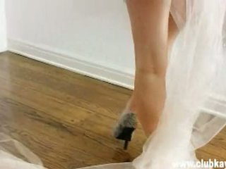 Sexy busty bride Kayden Kross gets so hot to handle naked in front of a mirror