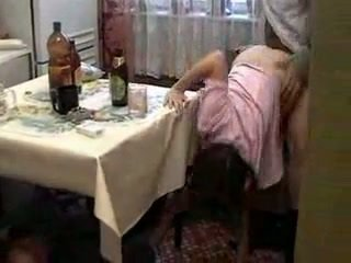 Drunk guys fucks drunk schoolgirl in hot threesome