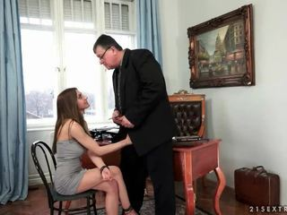 Young secretary fucks her old boss