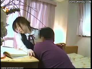 Japonesa estudiante oral sexo tutor