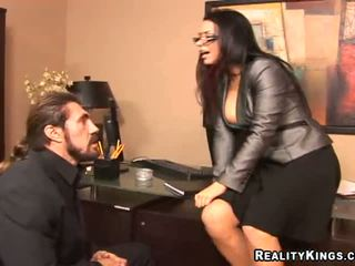 Busty boss Eva Angelina called me in to suck dick
