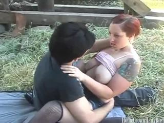 doggystyle, redhead, outdoors, cumshot