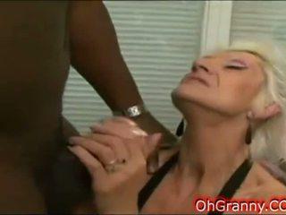 granny goes deep on a hard black cock