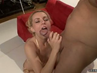 Sexually Excited Hot Blondie Lexi Belle Whacks Her Sweet Mouth With Her Lover's Hardon