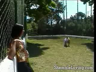 Cute naughty shemale sucking and riding a hard stiff cock outdoors