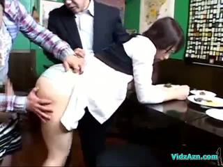 Busty Waitress Getting Her Tits And Ass Rubbed By 2 Guys Licked Sucking One Of Them Cum To Legs In The Restaurant