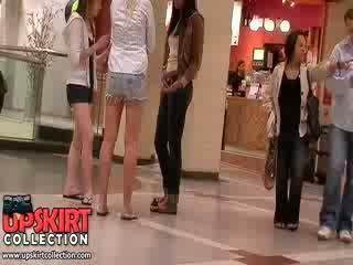Splendide longue legged filles en shorts laisser la excited crowd admirer leur jolie chaud bodies