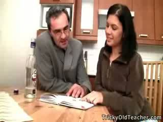 Dumb babe becomes a slut for her horny teacher