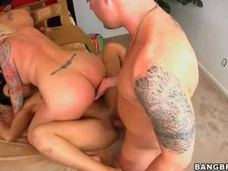 Indecent Floozy Angel Vain Gets Too Hot To Handle Fucking Hard On Bed In Group