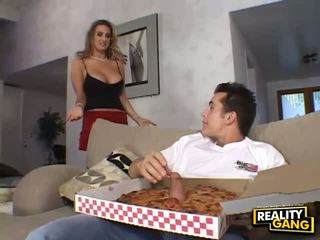 Busty housewife milf licking balls to pizza delivery guy